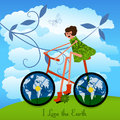 I love the earth girl on bike with globe in tires concept layered in vector message Stock Photos