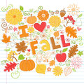 I Love Fall back to School Autumn Doodles Royalty Free Stock Photo