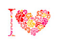 I love flower. Symbol heart of flowers roses. Royalty Free Stock Photo