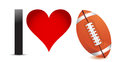 I love Football, Heart with Football Ball Stock Image
