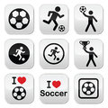 I love football or soccer, man kicking ball  buttons set Royalty Free Stock Photo