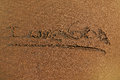 I love goa abstract sand background the inscription on the on the beach of the arabian sea Stock Images