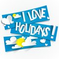 I love holidays banners with clouds and sun vector illustration Royalty Free Stock Photo