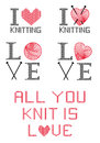 I love knitting set of design elements Royalty Free Stock Photos