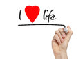 I love life written on a transparent whiteboard Stock Image
