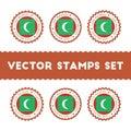 I Love Maldives vector stamps set.