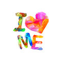 I love me. Triangular letters Royalty Free Stock Photo