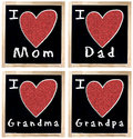 I love Mom Dad GrandMa and GrandPa on Chalkboard Stock Images