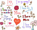 I love mom! set Royalty Free Stock Photo