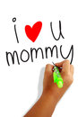 I love mommy girls hand holding a pen writing greeting card Royalty Free Stock Photography