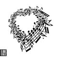 I love music concept. Heart made with musical notes