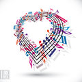 I love music concept. Heart made with musical notes and clef.