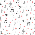 I love music. Music seamless pattern background. Hand drawn musi