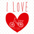 I love my bike over dotted background vector illustration Stock Photo