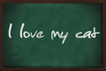 I love my cat written on green chalkboard Stock Image