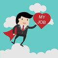 I love my job for investment concept, businessman with Heart in his hand to show love my job . cartoon illustration for bus