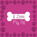 I love my pet over purple background vector illustration Royalty Free Stock Image