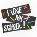 I love my school banners vector illustration Royalty Free Stock Photos