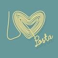I love pasta. Spaghetti as a symbol of heart Royalty Free Stock Photo