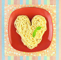 I love Pasta / Spaghetti  / Heart Shape Royalty Free Stock Images