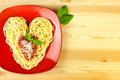I love Pasta / Spaghetti on a plate Royalty Free Stock Images