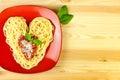 I love Pasta / Spaghetti on a plate Royalty Free Stock Photo
