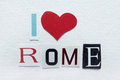 I love rome sign white handmade paper Royalty Free Stock Photos