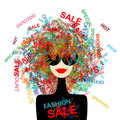 I love sale! Fashion woman with shopping concept Stock Photography