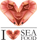 I love seafood illustration of two prawns in the shape of a heart symbol Royalty Free Stock Photo