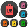 I love shopping bag icons set with long shadow