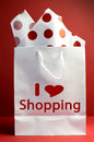 I love Shopping concept - red polka dot vertical. Stock Photography
