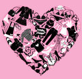I love shopping image the heart is made of differ different female fashion accessories and glamor clothes Stock Images