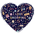 I love shopping themed design with different elements hanger sale shoes heart gift price tag label lipstick discount interest in Stock Images
