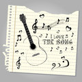 I love the song over notebook leaf background vector illustration Stock Photos