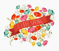 I love spring concept illustration cute greeting card with colorful flowers and red ribbon composition eps vector file organized Stock Image