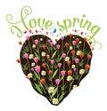 I love spring heart shaped flower garden eps vector royalty free stock illustration Royalty Free Stock Photo