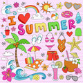 I Love Summer Vacation Notebook Doodles Royalty Free Stock Photo
