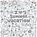 I love summer vacation tropical doodle vector illustration design elements Stock Photo