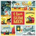 I love summer vector illustration of traditional summer vacatio modern flat design vacation Royalty Free Stock Photography