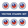 I Love Taiwan, Republic Of China vector stamps. Royalty Free Stock Photo