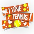 I love tennis banners vector illustration Stock Photos