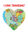 I love travel funny card with map heart Stock Photo