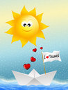 I love travel illustration of paper boat in summer Royalty Free Stock Photos