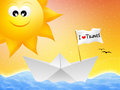I love travel illustration of paper boat in summer Royalty Free Stock Photo
