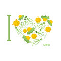 I love UFO. Symbol  heart of humanoid, alien and space saucer. Royalty Free Stock Photo