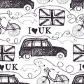 I love uk london black cab bike dachshund and flag Royalty Free Stock Photo