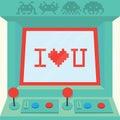 I love you arcade machine isolated vector retro Stock Image