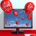 I Love You Balloons From Computer Screen Stock Images