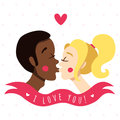I love you card and background with kissing couple (African American young man and blonde young woman) Royalty Free Stock Photo