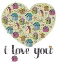 I love you card with birds Royalty Free Stock Photos